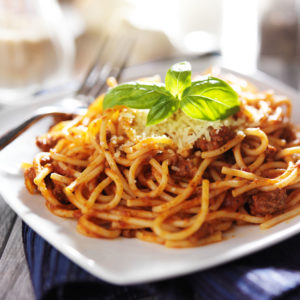 Classic spaghetti bolognese with cheese